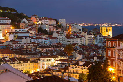 Lisbon old town at night, Portugal